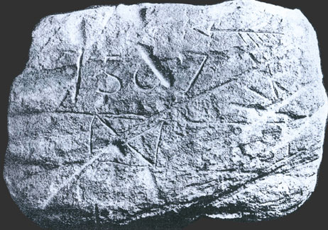 Image of Stone marked in 1567, Found in Spartanburg County, SC, Its Description, And Interpretation